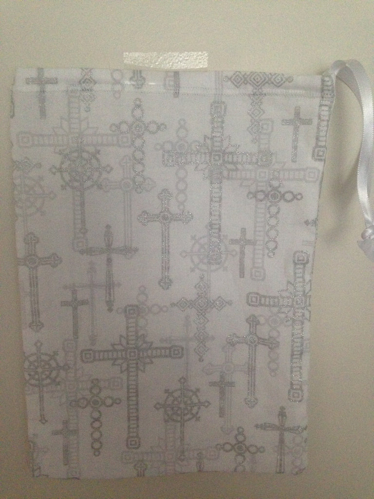 Ballet shoe bag-white with silver crosses (ONLY 2 LEFT)