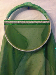 Green Fabric Tabret-Silver trim