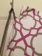 White/Grey/Purple Geometric Print Flag Bag