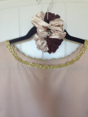 Beige Overlay with Sparkling Brown Skirt