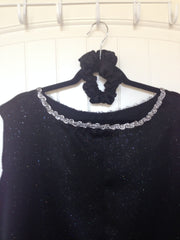 Black Sparkly Sleeveless Overlay/Mime Overlay