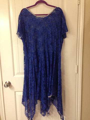 Royal Blue Lace Overlay