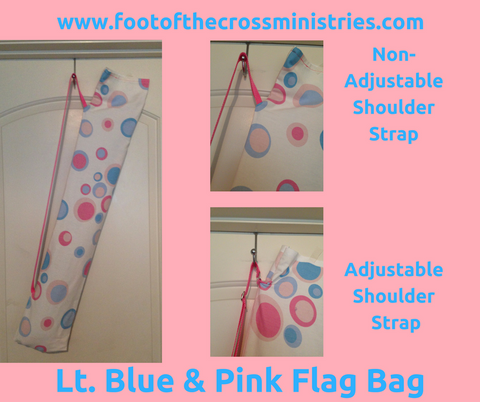 Light Blue & Pink Circle Print Flag Bag