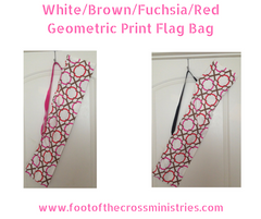 White/Brown/Fuchsia/Red Geometric Print Flag Bag