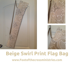 Beige Swirl Print Flag Bag