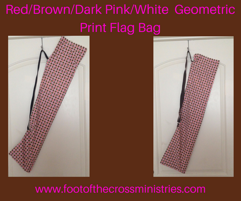 Red/Brown/Dark Pink/White Small Geometric Print Flag Bag