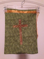 Jazz shoe bag-green with cross