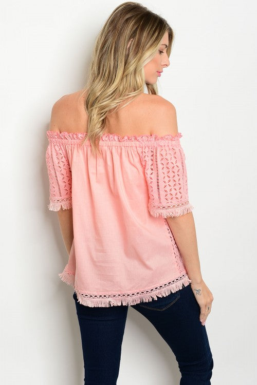 Shari Pink Off The Shoulder Top