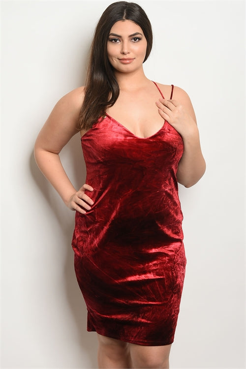 Burgundy Black Tie Dye Plus Size Dress