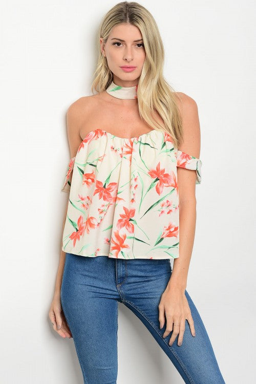 Natalia Ivory With Flowers Top