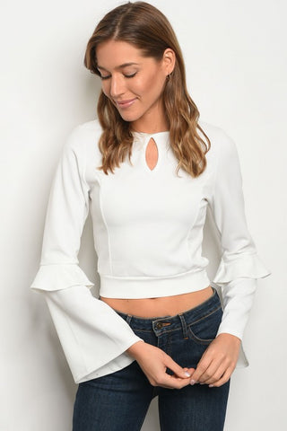 Esther Long Bell Sleeve Crop Top - White