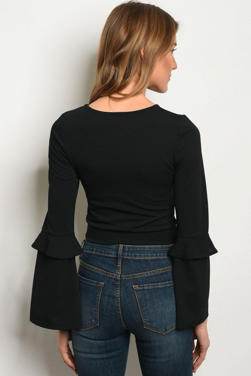 Esther Long Bell Sleeve Crop Top - Black