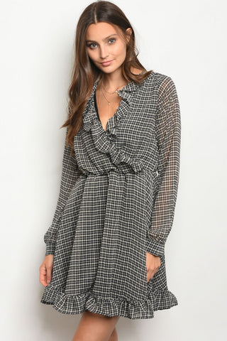 Lily Black Checkered Dress