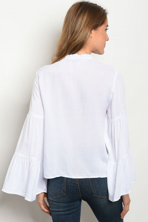 Kenya Bell Sleeve White Top