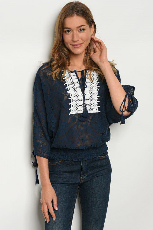 Embroidery Neckline Navy & White Top
