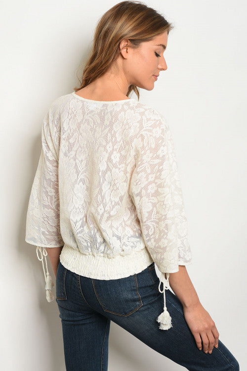 Embroidery Neckline Ivory & Blue Top