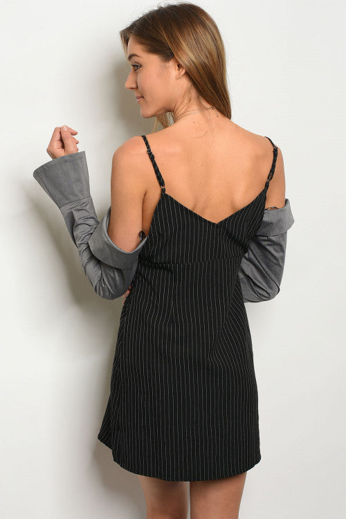 Netta Black & Gray Off Shoulder Dress