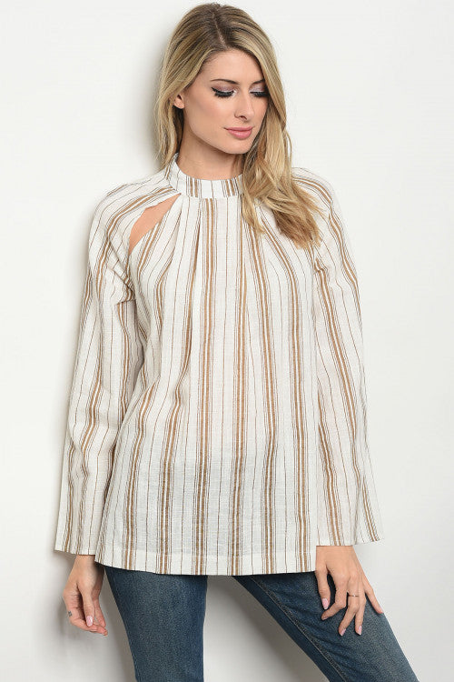 Taupe Ivory Stripes Top