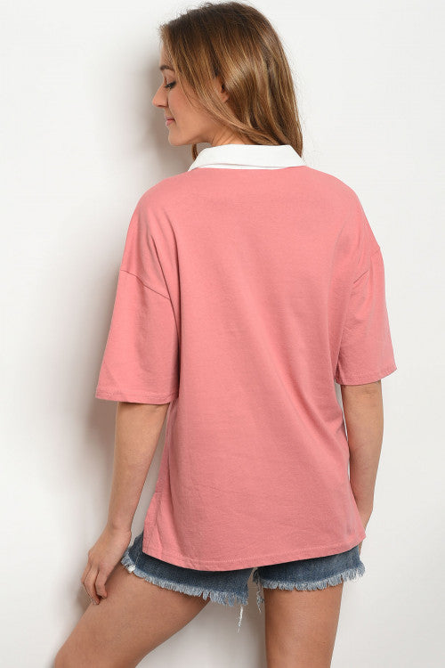 Minet Collared Top - Blush
