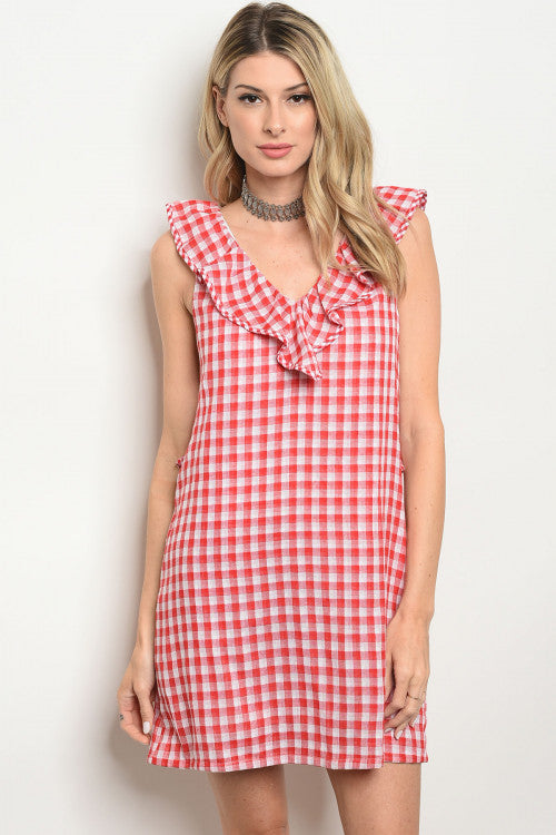 Red & White Checkered Gingham Dress