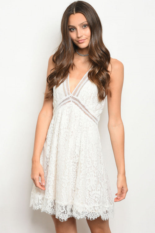 Sleeveless V-neck all over lace dress