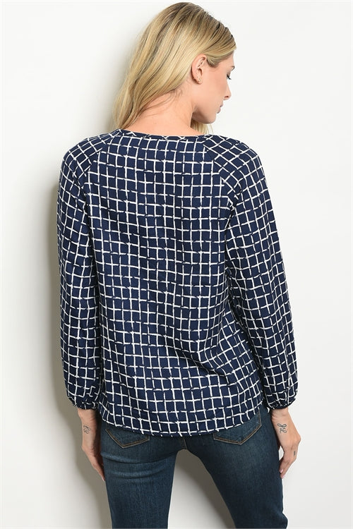 Gigi Navy Checkers Top