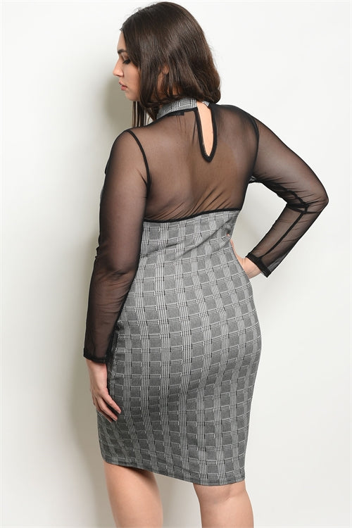 Black and White Checkered Plus Size Dress