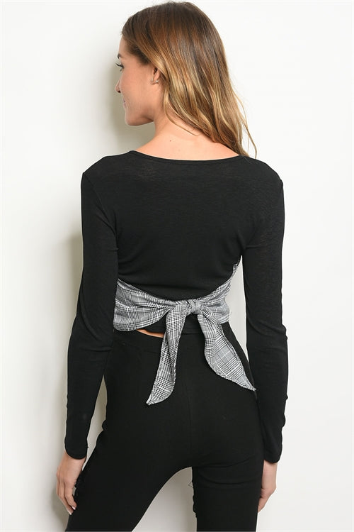 Liz Long Sleeve Scoop Neck Blouse - Black