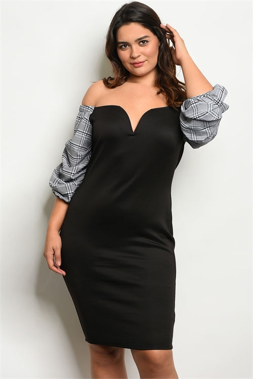 Samantha Puff Sleeve  Black and White Plus Size Dress