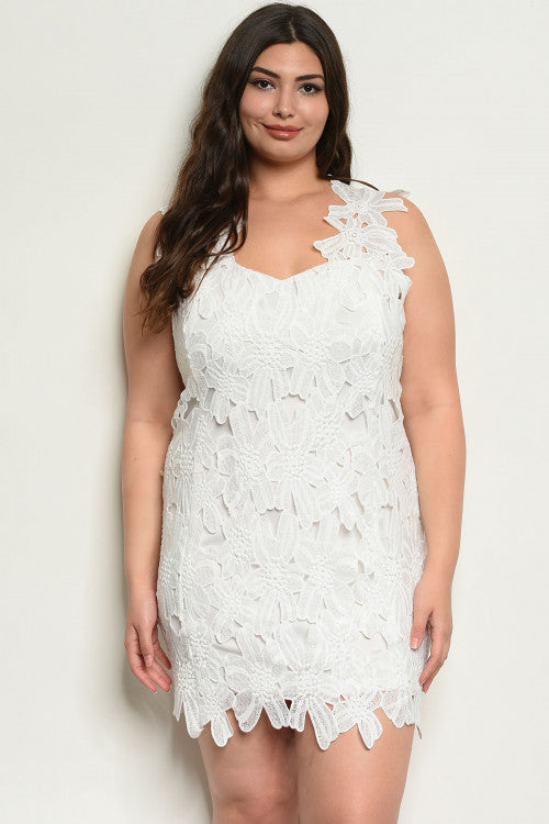 Esther White Crochet Plus Size Dress