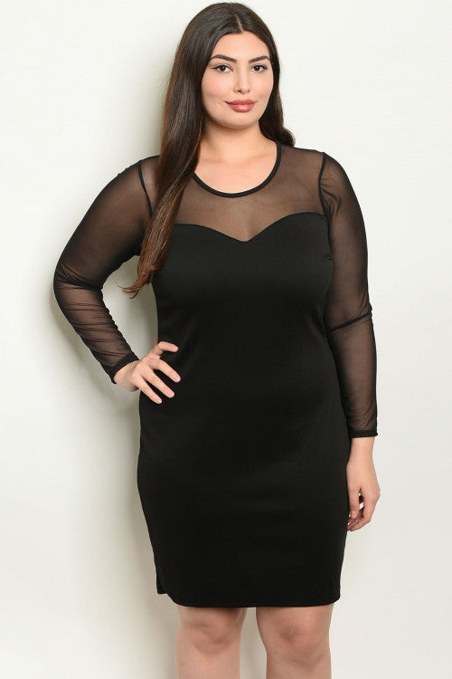 Irene Black Mesh Sleeve Dress