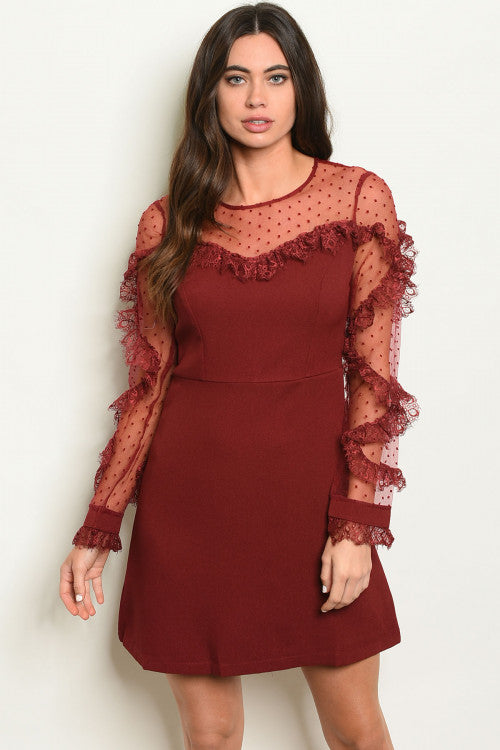 Princess Burgundy Ruffle Dress