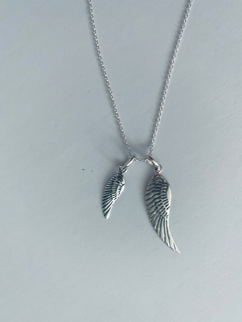 "Sterling Silver Wings 16"" Necklace"