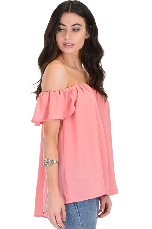 Sheer Off The Shoulder Top - PINK