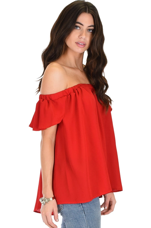 Sheer Off The Shoulder Top - RED