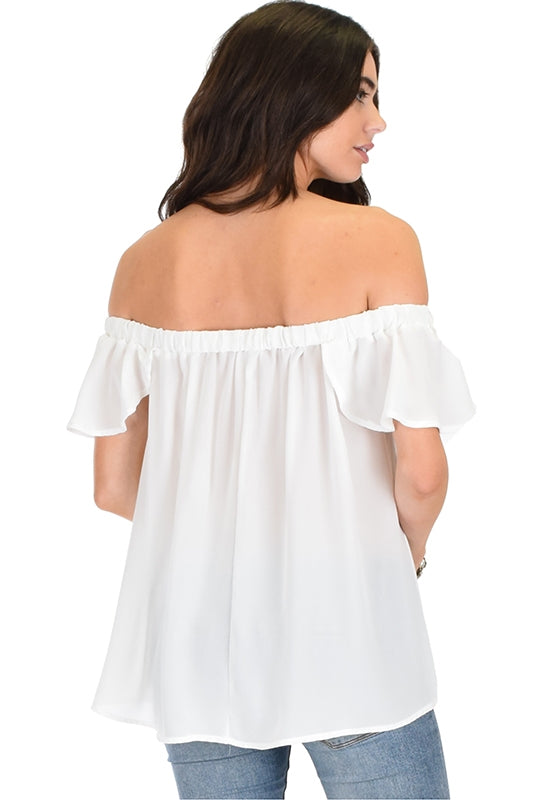 Sheer Off The Shoulder Top - WHITE