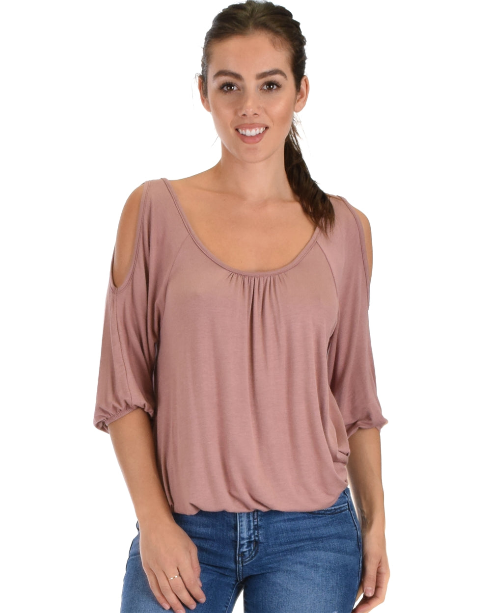 Cold Shoulder Cinched Top - Mauve