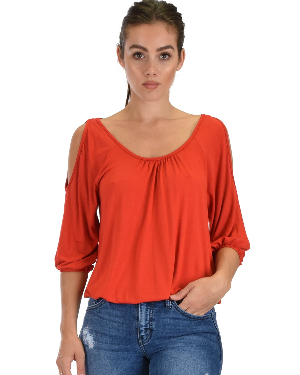 Cold Shoulder Cinched Top - Rust