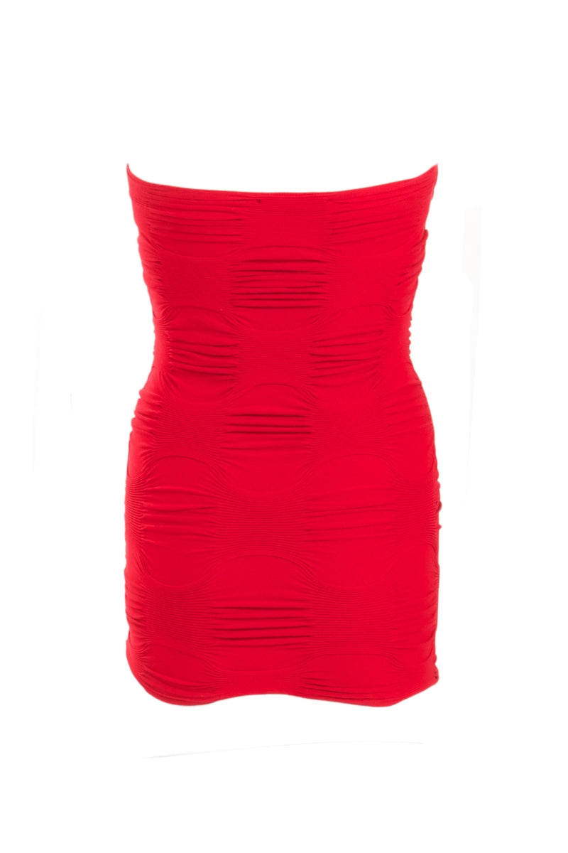 Textured Seamless Tube Top - Red