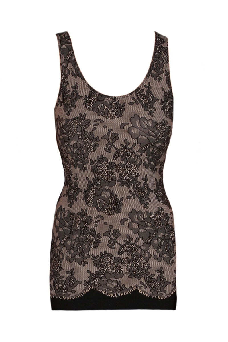 Seamless Bordeaux Floral Tank Top-Nude