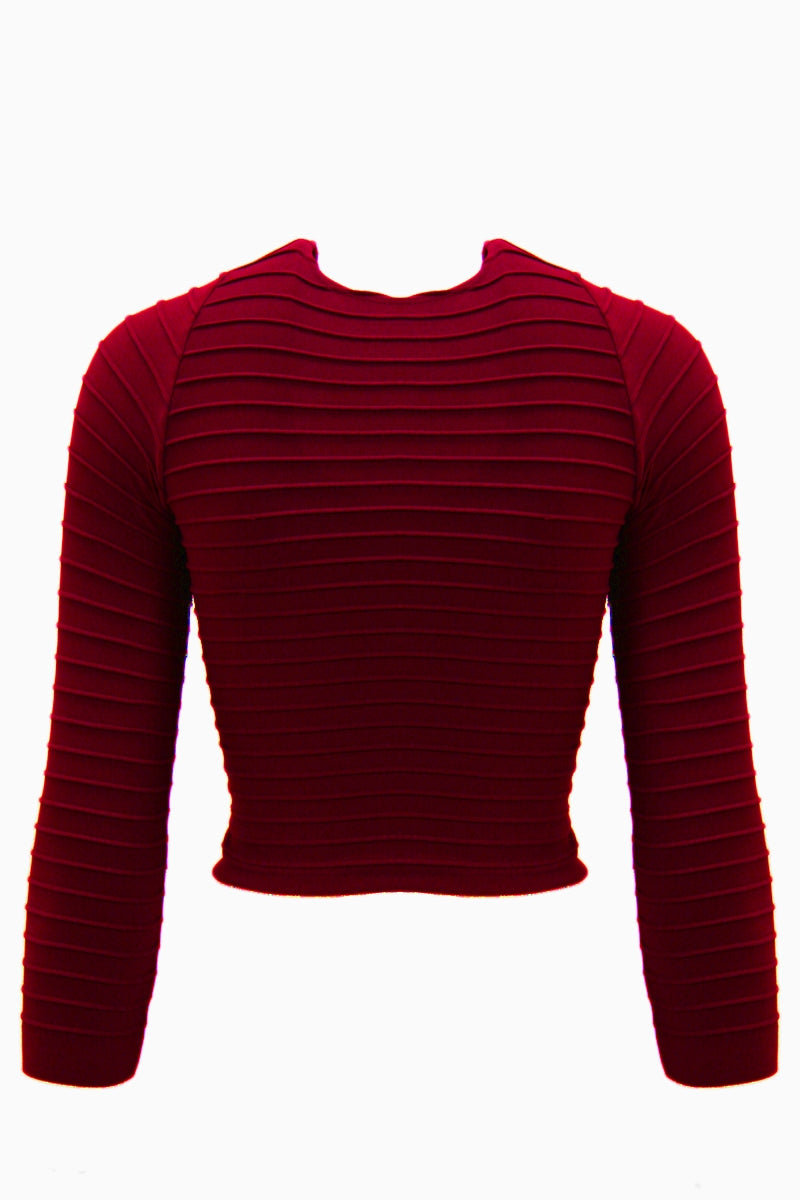 Seamless Ribbed 3/4 Sleeve Crop Top - Red