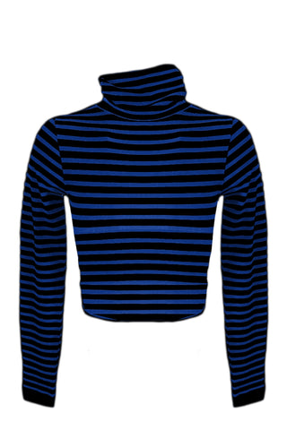 Striped Long Sleeve Turtleneck Crop Top - Cobalt