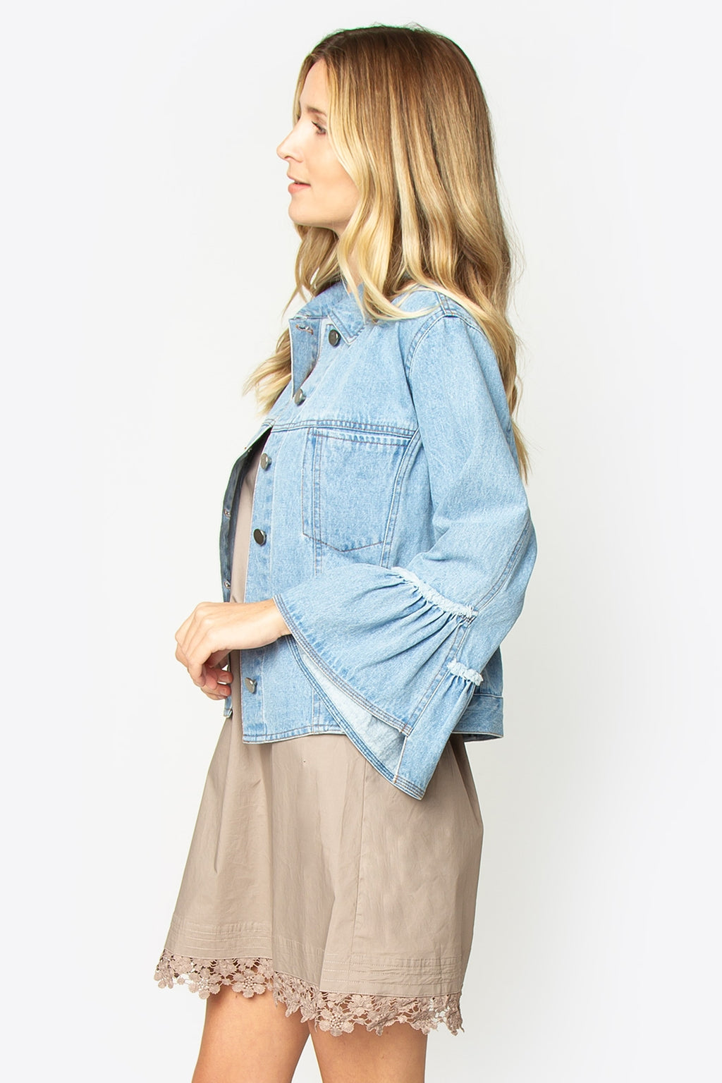 Turbo Bell Sleeve Denim Jacket