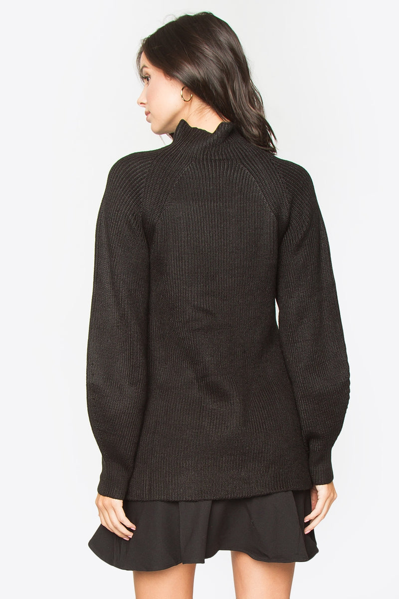 Georgie Mock Neck Sweater - Black