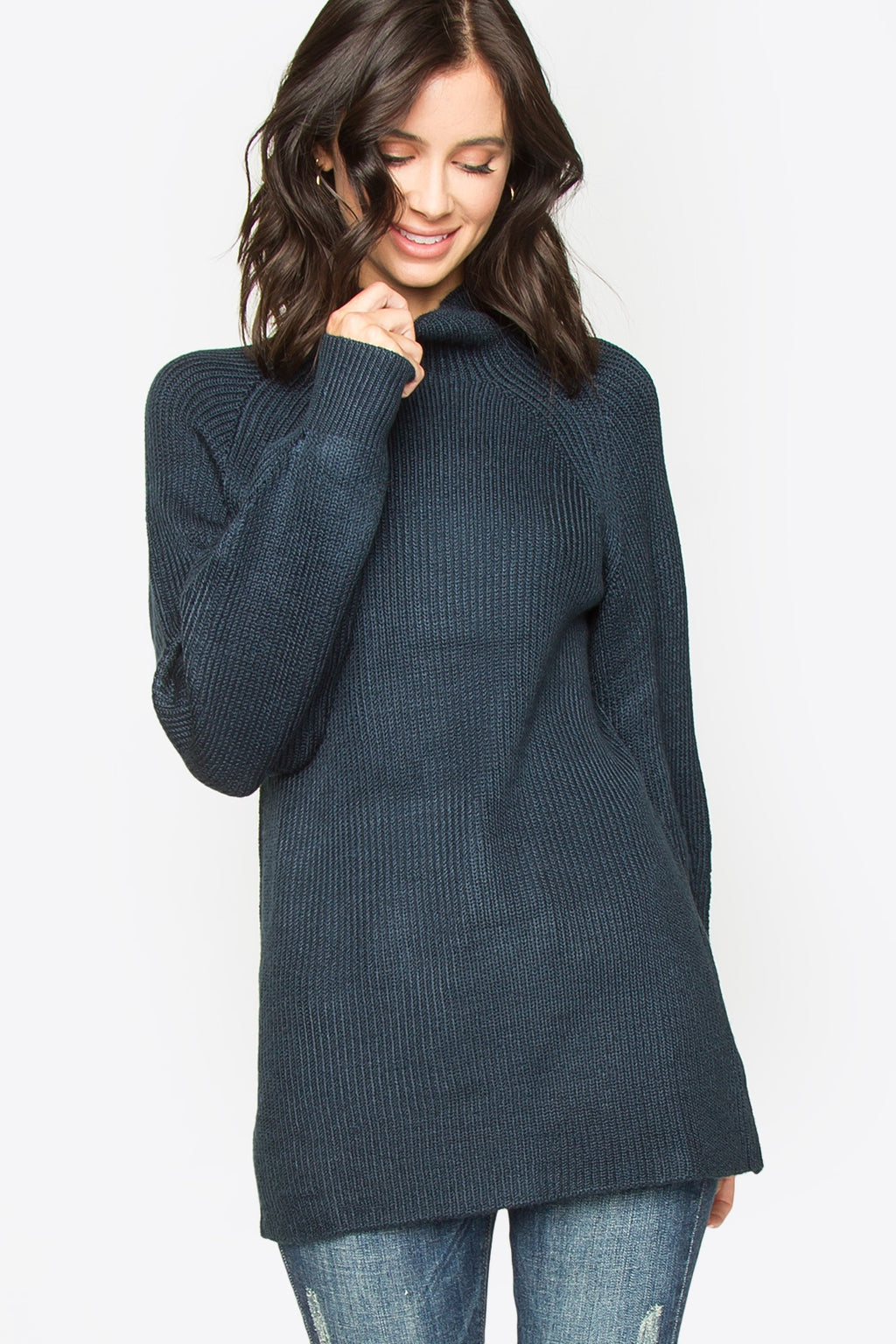 Georgie Mock Neck Sweater - Navy