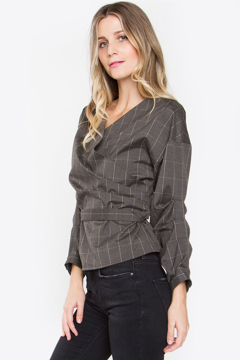 Birkin Plaid Wrap Top