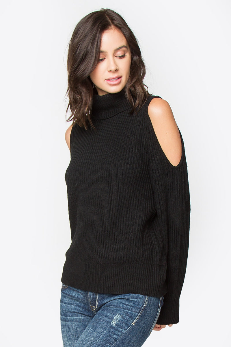 Griffin Cold Shoulder Turtle Neck Sweater - Black