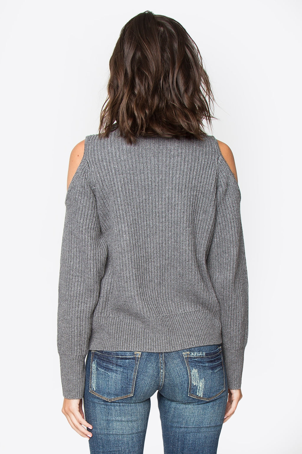 Griffin Cold Shoulder Turtle Neck Sweater - Grey