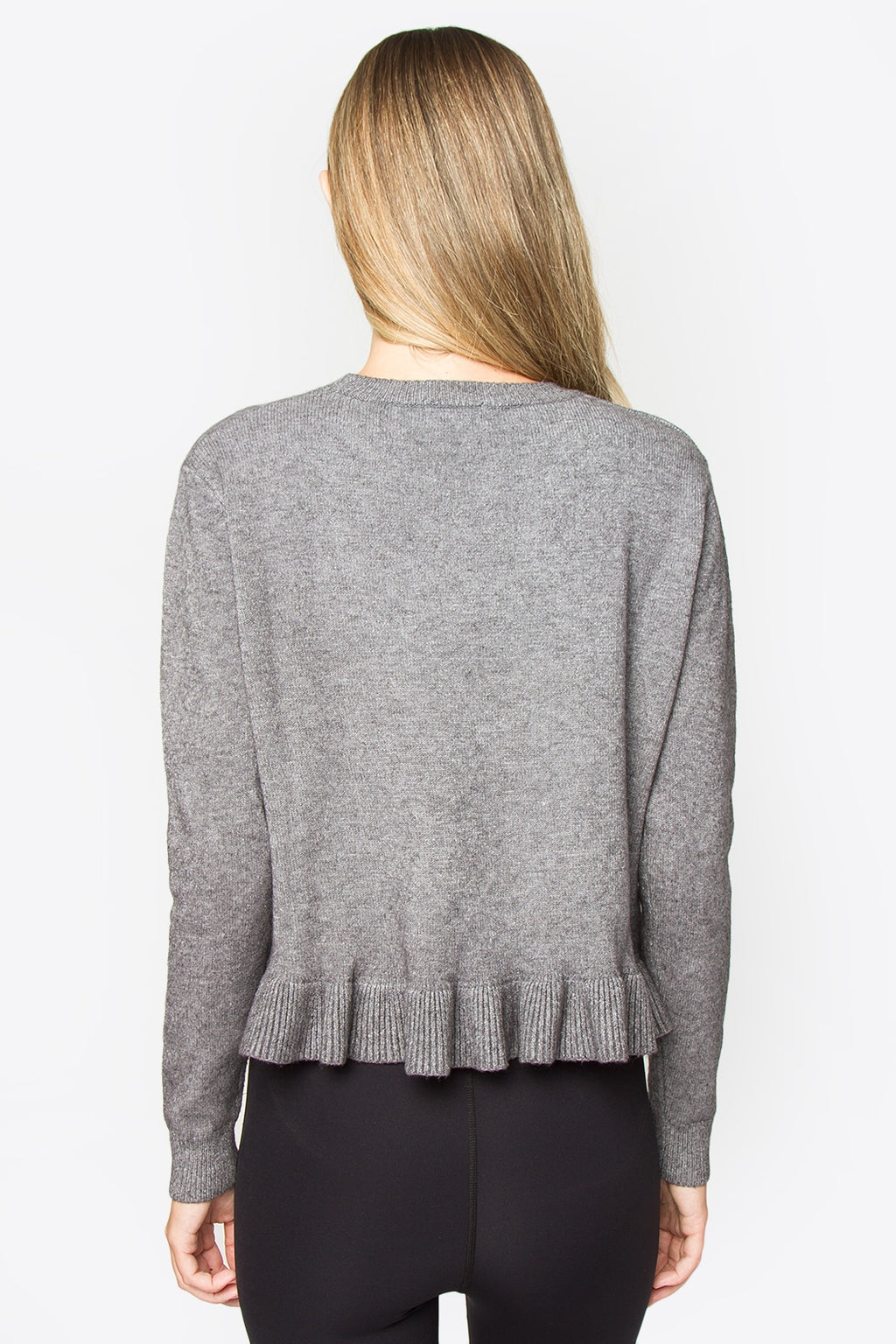 Kimika Ruffle Detail Sweater - Grey