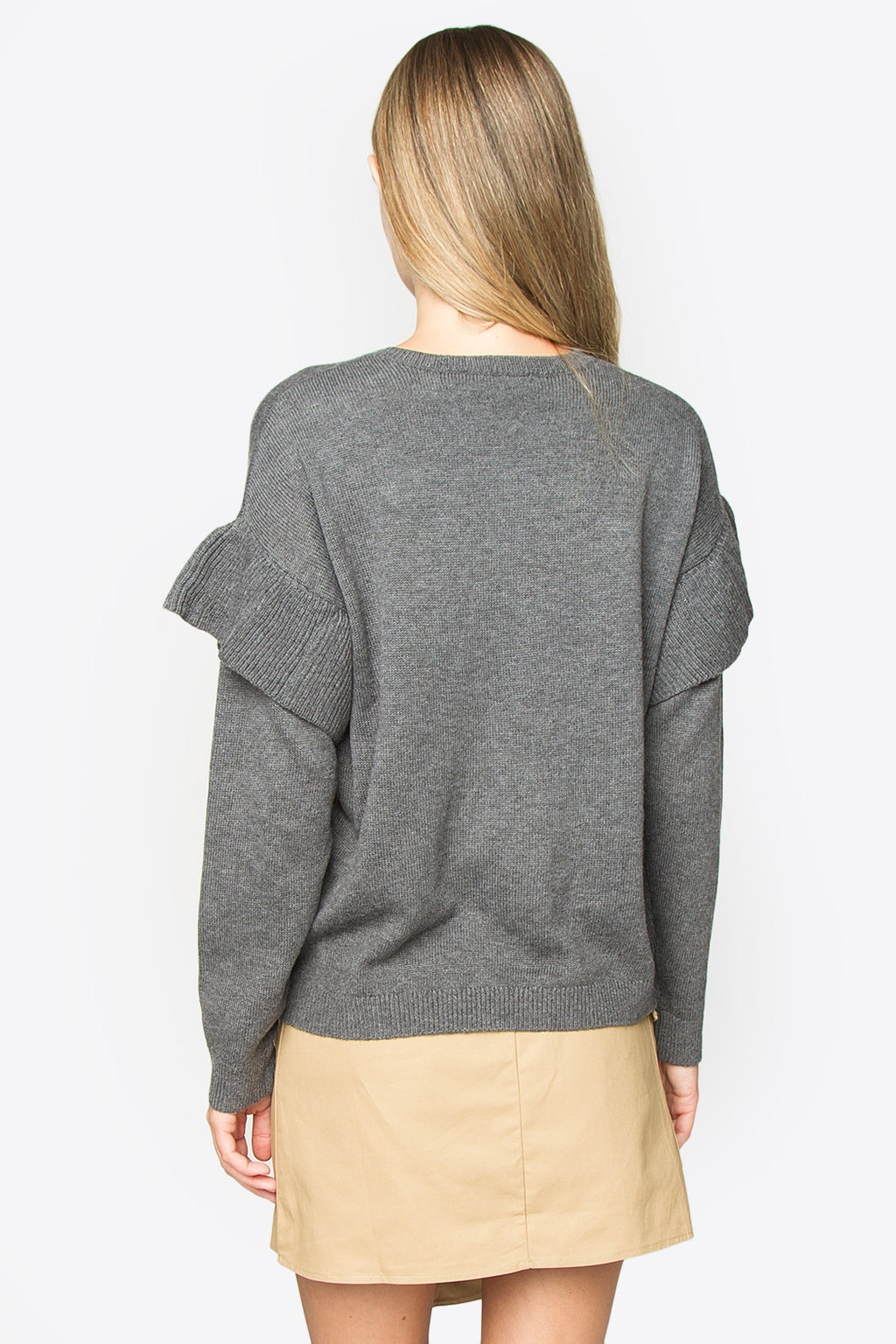 Kayson Oversized Ruffle Sweater - Grey